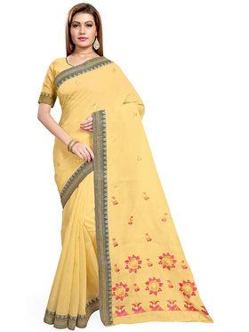 Triveni's Blended Cotton Embroidered Saree -TSMRCCPI4006