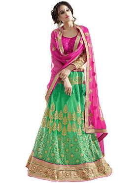 Triveni Embroidered Net & Satin Green Lehenga Choli-TSN82024