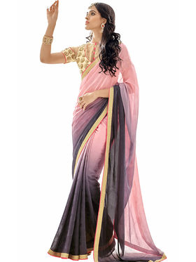 Triveni's  Georgette Jacquard Border Work Saree -TSN84015