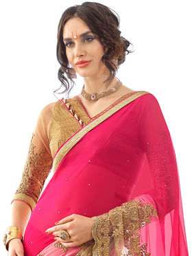 Triveni Embroidered Faux Georgette Net Saree -Tsn87023