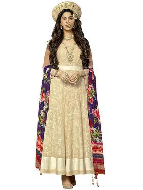 Triveni's Khadi Cotton Embroidered Dress Material -TSVDMTSK1201