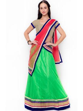 Triveni Charming Green Semi Stitched Net Lehenga Choli_Ts106