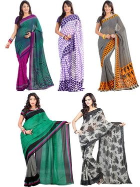 Pack of 5 Triveni Dani Printed Saree - TSCO16
