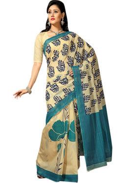 Triveni Cotton Printed Saree - Light Yellow - TSMRCC316