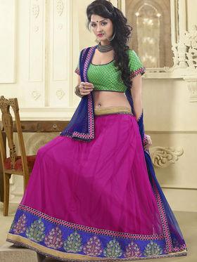 Triveni Satin - Net Embroidered Lehenga Choli - Green and Pink -TSSURG2001