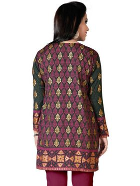 Variation Faux Crepe Printed Kurti - Grey - VD15090
