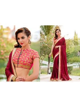 Nanda Silk Mills Embroidered Red Saree_VR-2206