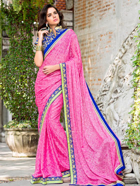 Nanda Silk Mills Embroidered Pink  Saree_VR-2208