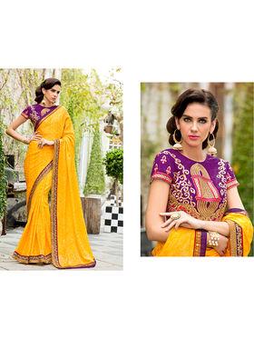 Nanda Silk Mills Embroidered Yellow  Saree_VR-2210
