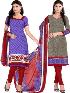 Khushali Fashion Crepe Printed Dress Material With Two Top -Vrmgev25016