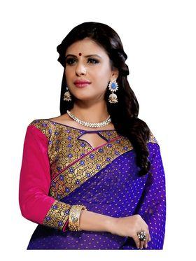 Khushali Fashion Embroidered Georgette Half & Half Saree_KF27