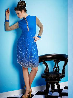 Viva N Diva Georgette Embroidered Kurti - Blue - Ashley-P-25