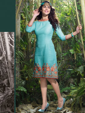 Viva N Diva Lilen Embroidered Kurti - Sky Blue - Hangover-118
