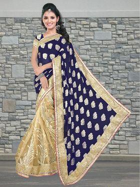 Viva N Diva Viscose Georgette & Net Embroidered Saree - Navy Blue & Beige - 102