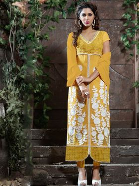 Viva N Diva Pure Georgette Embroidered Dress Material - Yellow