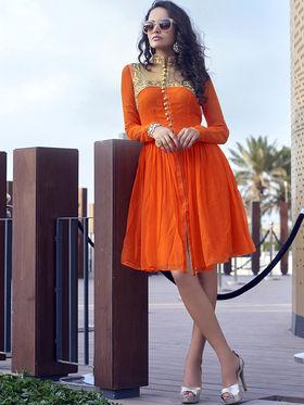 Viva N Diva Faux Georgette Embroidered Kurti - Orange - Nova-11003