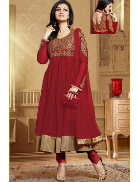 Viva N Diva Soft Net Embroidered Unstitched Anarkali Suit - Maroon