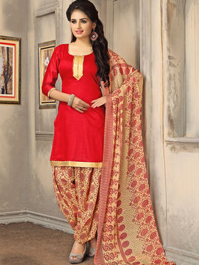 Viva N Diva Cotton Printed Suit - Red - S-Patiala-05-101