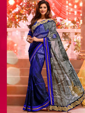 Viva N Diva Georgette & Lightweight Embroidered Saree - Blue