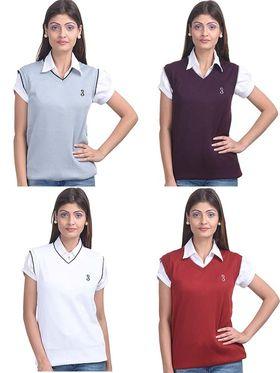 Pack of 4 Eprilla Spun Cotton Plain Sleeveless Sweaters -eprl26