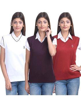 Pack of 3 Eprilla Spun Cotton Plain Sleeveless Sweaters -eprl16