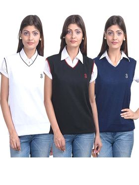 Pack of 3 Eprilla Spun Cotton Plain Sleeveless Sweaters -eprl19