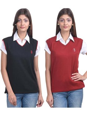 Pack of 2 Eprilla Spun Cotton Plain Sleeveless Sweaters -eprl09
