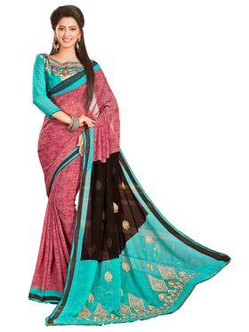 Khushali Fashion Embroidered Chiffon Half & Half Saree_KF82