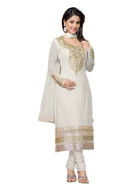 Khushali Fashion Georgette Embroidered Dress Material - White - AS05