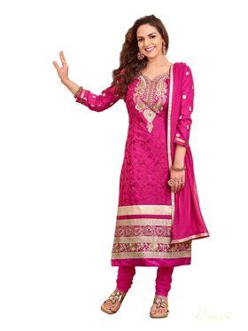 Khushali Fashion  Cotton Embroidered Dress Material - Black - ED06