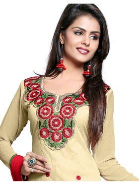 Khushali Fashion Chanderi Embroidered Dress Material - Chickoo - PARI02