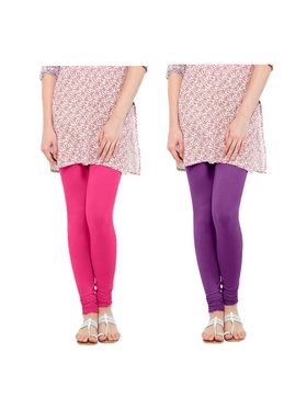 Pack of 2 Oh Fish Solid Cotton Stretchable Leggings -zwe26