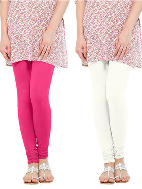 Pack of 2 Oh Fish Solid Pure Cotton Stretchable Leggings -zwe29