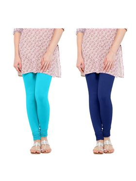 Pack of 2 Oh Fish Solid Cotton Stretchable Leggings -zwe42