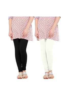 Pack of 2 Oh Fish Solid Pure Cotton Stretchable Leggings -zwe47