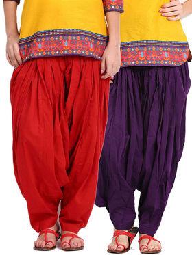 Combo of 2 Javuli Plain Pure Cotton Semi Patiala Salwar-ja63