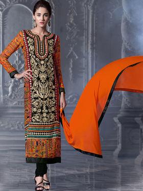 Viva N Diva Semi Bemberg Georgette Embroidered Dress Material - Black & Orange - Riha-7015