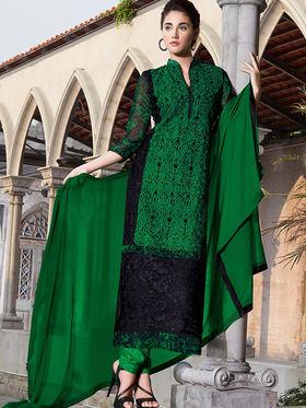 Viva N Diva Semi Bemberg Georgette Embroidered Dress Material - Green & Black - Riha-7020