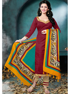 Viva N Diva Bhagalpuri  Printed Dress Material - Brown - Tulip-208
