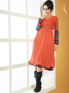 Viva N Diva Pure Babamer Georgette Embroidered Kurti - Orange