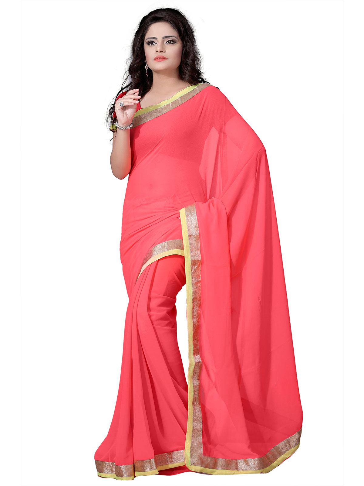 Buy silkbazar plain semi chiffon saree peach online at best price in