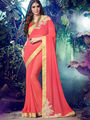 Indian Women Embroidered Georgette Peach Designer Saree -MG12307