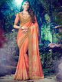 Indian Women Embroidered Chinnon Chiffon Peach Designer Saree -MG12312
