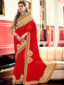 Indian Women Embroidered Red Georgette Saree -MG12403
