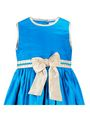 ShopperTree 100% POLYESTER Plain Girls Frock - Blue Above 4 Year