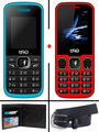 Combo of Trio Dual SIM Feature Phone (T4 Star - Blue + T3 Star - Black Red) with Belt and Wallet