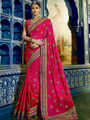 Viva N Diva Embroidered Georgette Pink Saree -19489-Rukmini-04