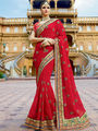Viva N Diva Embroidered Georgette Red Saree -19490-Rukmini-04