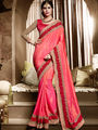 Indian Women Embroidered Silk Pink & Orange Designer Saree-Ht71110