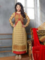 Adah Fashions  Faux Georgette Embroidered Semi Stitched Dress Material - Brown